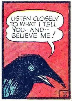 Pop Art Retro Comic Illustration Horror Dark Crow Raven