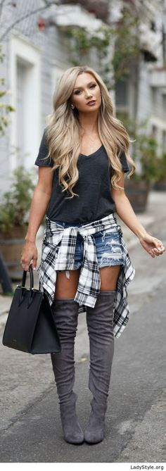 Grey t-shirt, short jeans and plaid shirt - LadyStyle