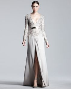 Elie Saab Long-Sleeve Tweed-Bodice Gown - Neiman Marcus