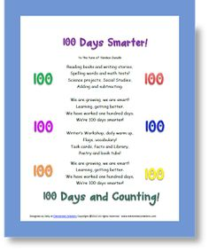 100 Days Smarter Song to the tune of Yankee Doodle Kindergarten Classroom, Classroom Ideas, 100 Days Of School, School Stuff, 100s Day, 100 Day Celebration, Teaching Philosophy, Stuff For Free, Numbers Preschool