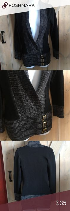Long open sweater Hip hugging sweater with 3 buckle detail at the bottom, gray edges, must have layer piece for your closet venus Tops Tunics
