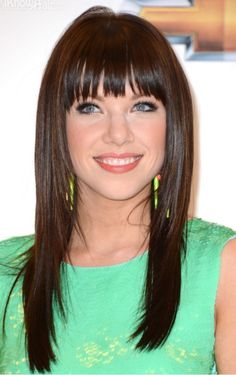 Carly Rae jepson long straight hair with bangs