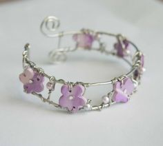 Lilac Flower Cuff CLEARANCE WAS 25 NOW 11 by mlwdesigns on Etsy, $11.00