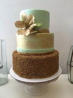Mint and Gold Magnolia Cake www.OakTreeJunction.com