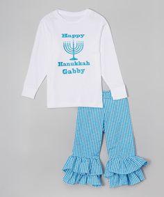 Beary Basics White Hanukkah Personalized Tee & Pants - Infant, Toddler & Girls by Beary Basics #zulily #zulilyfinds