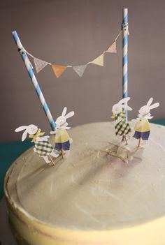 Rabbit-themed decor for a red velvet birthday cake