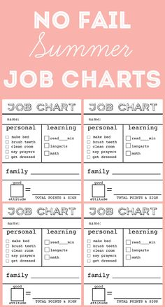 Summer Job Charts that encourage kids to have a great attitude while working. Structure mixed with free play Summer Jobs, Summer Fun, Summer School, Teaching Kids, Kids Learning, Diy Spring, Job Chart, Chores For Kids, Business For Kids