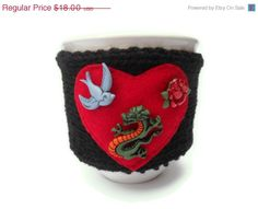 CIJ 15 Off Mug Cozy with Tattoo Style by stinkRknits on Etsy, $15.30