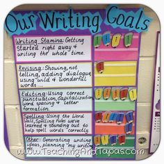 Teaching and Tapas: Grade in Spain: Anchor Charts: Reading and Writing Goals (charts mise en page) Writing Goals, Writing Strategies, Writing Lessons, Writing Resources, Teaching Writing, Writing Activities, Writing Process, Persuasive Writing, Writing Ideas