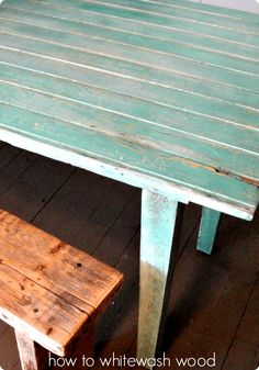 Hi everyone! Today I am going to teach you how to whitewash wood! It might look complicated because the results are AWESOME, but the process actually goes pretty fast and isn't hard at all! I had a custom order for a table made from an old pine farmhouse door that had yellow paint as the original finish. The request was
