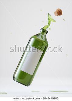 Splash Olive Oil Bottle - 3D Rendering