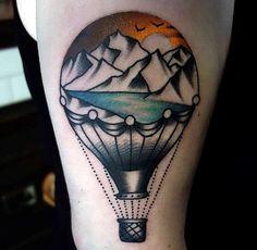 45 Cute Hot Air Balloon Tattoo Designs