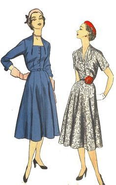 """Vintage 1950's Sewing Pattern Love the Neckline Ultra Rare Flared Dress Bust 36"""""""