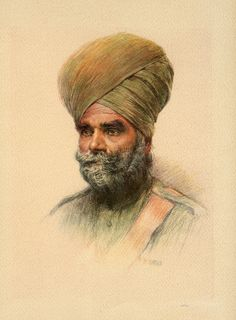 Great painting of a Sikh Havildar from 1900. Sorry but no regiment listed with this picture. | Sikhpoint.com