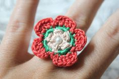 Crochet Daisy Flower Ring LOVELY ONE by CatWomanCrafts on Etsy, $6.00