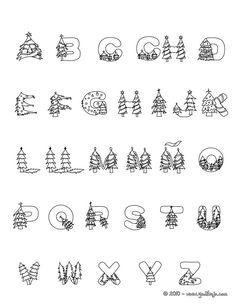 Dibujo para colorear : abecedario arbol de navidad