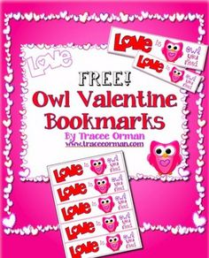 Free Owl Bookmarks for Valentine's Day - Tracee Orman - TeachersPayTeachers.com