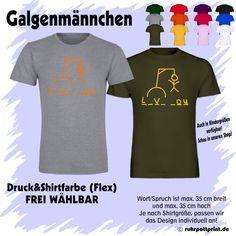 T-Shirt Galgenmännchen L_V_ _OU individuell gestaltbar mit Flexdruck - love you