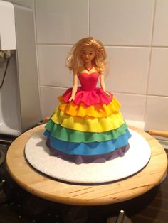 Dolly Varden chocolate mudcake with requested rainbow fondant skirt. July 2015