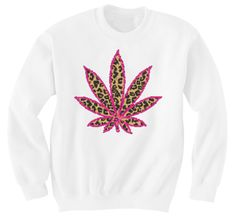 Marijuana leaf in leopard with pink sweater on Etsy, $19.99