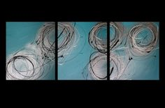 3 Abstract Canvas Painting Turquoise Silver | eBay