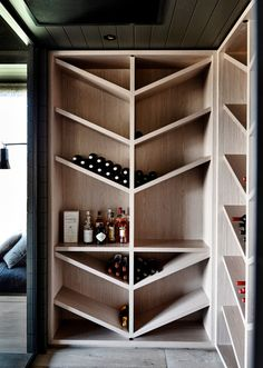 Wine Storage - The black house. A contemporary take on a traditional farm house from Canny Architecture set on the rolling hills of Flinders on the Mornington Peninsula. Modern House Design, Home Design, Design Ideas, Interior Design, Design Design, Rack Design, Interior Colors, Storage Design, Wine Cabinets