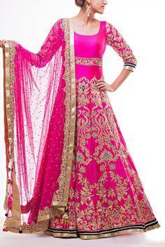 Hot Pink Floor Length Bridal Anarkali