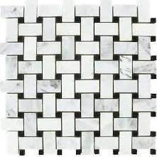 basket weave tile - powder room