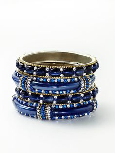 Set Of 4 Blue Crystal Bangles by Chamak by Priya Kakkar on Gilt.com
