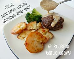 Mystery Lovers' Kitchen: Cleo Coyle's Mini Meat Loaves with Smashed Baby Red Potatoes + Roasted Garlic Gravy