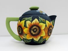 Sunflowers and Bumble Bees Tea Pot,  Vintage Tea or Coffee Pot, Hand or Tole Painted,Yellow Sunflowers,Yellow Bumble Bees,Decorative Tea Pot by barbsheartstrokes on Etsy Bumble Bees, Vintage Tea, One Design, Sunflowers, Flower Pots, Tea Pots, Hand Painted, Etsy Shop, Coffee
