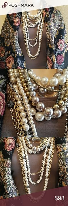 ♣️Wear 5 Ways Necklace Bundle♣️ This was designed by Chico's clothing team, which is a private label. It's of exceptional quality. Wear separately or together. The longest piece can be worn separately with add on pearls. Shown in pictures. Some wear on the clasp. EUC Chicos Jewelry Necklaces