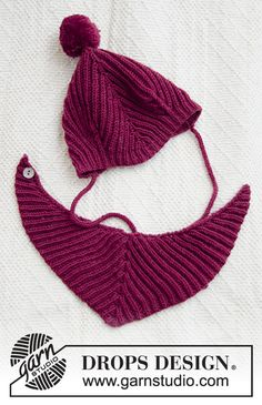 Knitted hat and bib for babies, with English rib in DROPS BabyMerino. Simply Knitting, Knitting For Kids, Free Knitting, Knitting Machine, Baby Knitting Patterns, Baby Patterns, Scarf Patterns, Drops Design, Knitted Hats