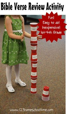 bible verse stacking cups game.  I used it for first 10 books for bible new and old testament. placed kids in groups and timed them.