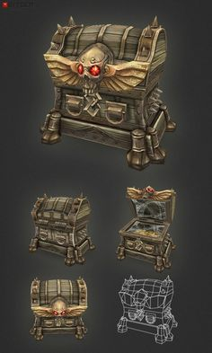 "Low Poly Treasure Chest Large Add a professional touch to your game project with this low poly, hand painted large sized treasure chest. You should find this items easy to reshape and alter as needed or it can just be used as is. The chest comes with an ""open"" animation (frames 0-14)"