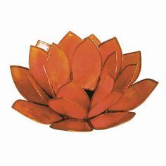 Orange Capiz Shell Lotus Candle Holder