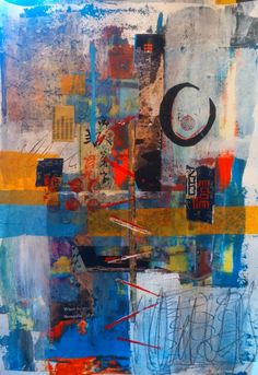 Chop Sticks by Helen Kaminsky, mixed media and collage on paper