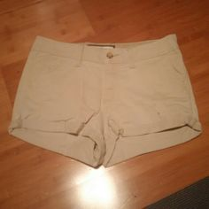 khaki shorts Khaki shorts. Worn only a few times. There are a couple of holes in front, see last picture. Ask any questions and make offers. Abercrombie & Fitch Shorts