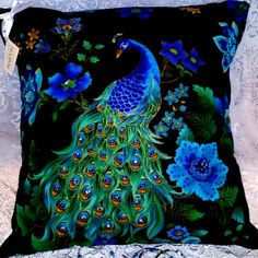peacock pillow by CrystalsByD on Etsy Peacock Bedding, Peacock Quilt, Peacock Bedroom, Peacock Pillow, Peacock Decor, Peacock Art, Peacock Theme, Peacock Design, Peacock Fabric
