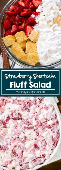 Strawberry Shortcake Fluff Salad - Quick 10 minute dessert salad that tastes just like strawberry shortcake with real pieces of cake, fresh strawberries and a creamy salad filling. A summer favorite side dish, appetizer, dessert. Easy Summer Desserts, Summer Dessert Recipes, Dessert Salads, Appetizer Dessert, Easy Potluck Recipes, Summer Potluck, Fresh Strawberry Desserts, Strawberry Shortcake Dessert, Strawberry Salads