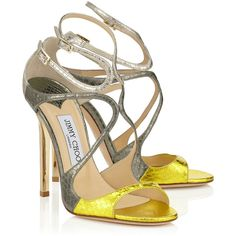 Acid Yellow, Dark Moss and Marble Metallic Elaphe Mix Strappy Sandals... (€795) ❤ liked on Polyvore featuring shoes, sandals, yellow sandals, metallic shoes, strap sandals, metallic sandals and strappy sandals