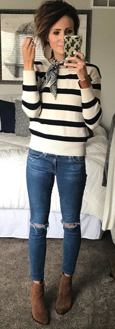 #winter #fashion / White Striped Knit / Ripped Skinny Jeans / Brown Suede Booties