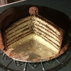 """""""Originally a Hungarian treat (pronounced Do-bash), this cake made it's way to New Orleans, where it has become a staple in Louisiana. It's my husband's all time favorite, and has become a birthday tradition. Doberge Cake, Chocolate Buttercream, Chocolate Dobash Cake Recipe, Torte Cake, Personal Recipe, Cake Flour, Cream And Sugar, Vegetarian Chocolate, Cake Recipes"""