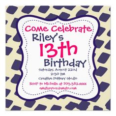 Modern Pink Purple Birthday Party Invitations