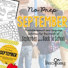September means back to school and back to planning sessions! Let this packet make those first few weeks of school easy for you. Want to use cute, seasonally themed activities but have no time to prep them all? This packet has 40+ pages of September and Back to School themed activities to help save time on speech therapy prep work. #SLP #SPED