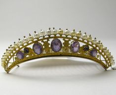 An amethyst and button pearl tiara, 1850's Sweden