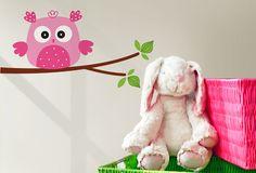 Pink Owl | Twiggy Vinyl Wall Art South Africa