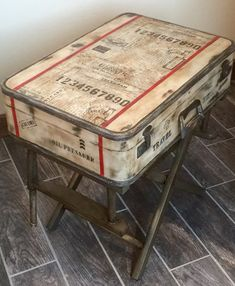 SOLD ~ Accepting Custom Orders Rustic Industrial Nightstand End/Accent Table Suitcase Luggage Antiqued Vintage Repurpose Distressed Painted Decoupage Suitcase, Vintage Suitcase Table, Painted Suitcase, Suitcase Decor, Painted Trunk, Suitcase Storage, Storage Trunk, Plywood Furniture, Painted Furniture