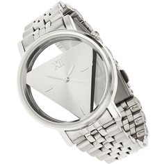 Miss Selfridge Triangle Metal Watch M/L (270 SEK) ❤ liked on Polyvore featuring jewelry, watches, silver color, metal watches, triangle jewelry, metal jewelry and miss selfridge
