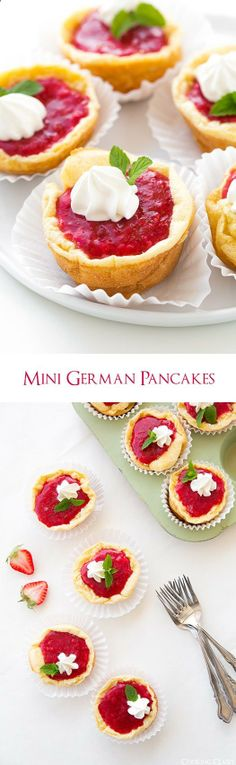 Mini German Pancakes with Fresh Strawberry Sauce - love these!